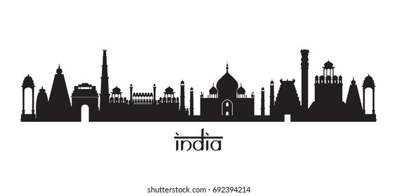 India Landmarks Skyline in Black and White Silhouette, Cityscape, Travel and Tourist Attraction