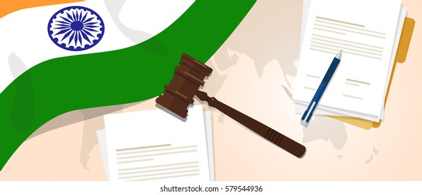 India law constitution legal judgment justice legislation trial concept using flag gavel paper and pen