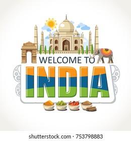 India lettering sights symbols landmarks culture illustration