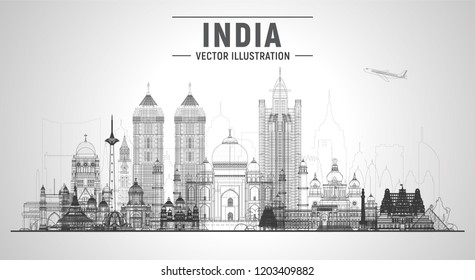 India line skyline with panorama in white background. Vector Illustration. Business travel and tourism concept with modern buildings. Collage from largest cities of India.