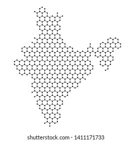 India map from abstract futuristic hexagonal shapes, lines, points black, in the form of honeycomb or molecular structure. Vector illustration.
