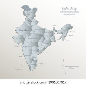 India map, administrative division with names, white blue card paper 3D vector