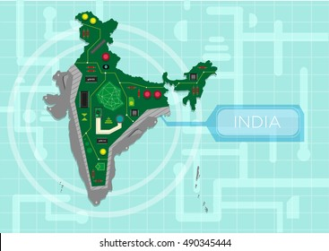 India map as a circuit board generating data processing or digital power. Editable Clip Art.