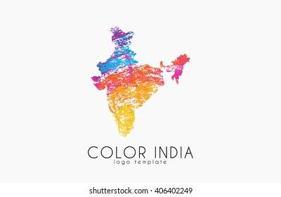 India. Map of India. Color india logo. Creative India