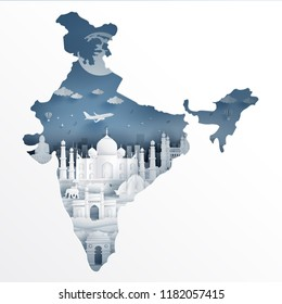 India map concept with India famous landmarks in paper cut style vector illustration.