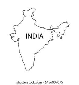 india map correct size white background vector illustration