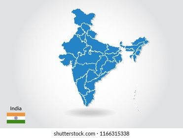 india map design with 3D style. Blue india map and National flag. Simple vector map with contour, shape, outline, on white.