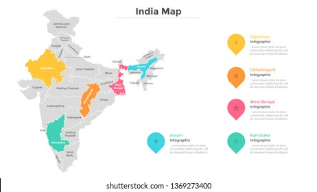 India map divided into provinces or regions with modern borders. Geographic location indication. Infographic design template. Vector illustration for presentation, brochure, touristic website.