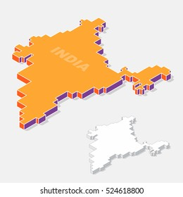India map element with 3D isometric shape isolated on background, vector illustration