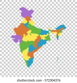 India map with federal states. Flat vector