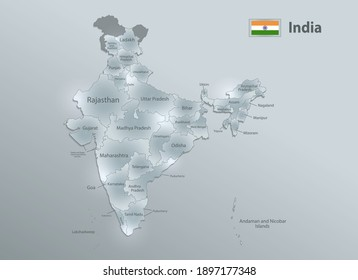India map and flag, administrative division, separates regions and names individual region, design glass card 3D vector