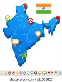 India map and flag - highly detailed vector illustration