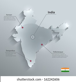 India map glass card paper 3D vector