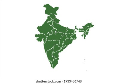 India Map Green Color on White Backgound