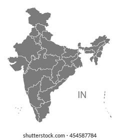 India Map grey