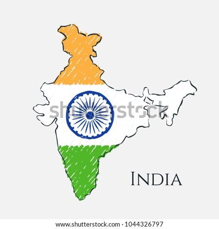 India Map Drawing India Map Hand Drawn Sketch Vector Stock Vector (Royalty Free  India Map Drawing