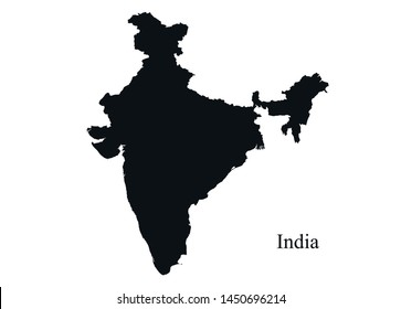 India map icon. black silhouette simple style vector isolated image of asian country