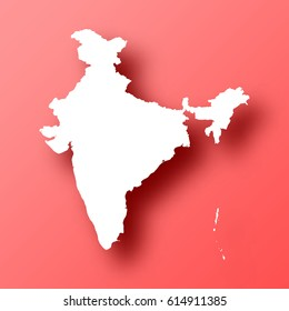 India Map isolated on red background with shadow. High detailed vector map.  Template for your design, website, infographic, brochure, cover, business annual report,...