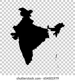 India map isolated on transparent background. Black map for your design. Vector illustration, easy to edit.
