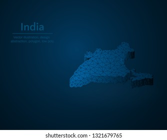 India map low poly vector illustration, South Asian country polygonal icon, isometric icon, education concept illustration, dark blue background