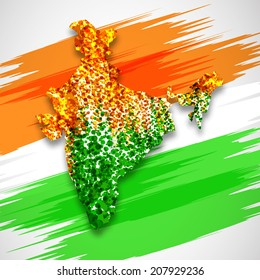 India map in national flag tricolors background Abstract for India Independence Day