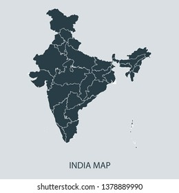 India map on gray background vector, India Map Outline Shape Gray on White Vector Illustration, Map with name. High detailed Gray illustration map India.