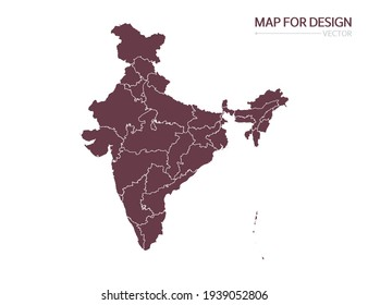 India map on white background vector illustration.