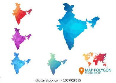 India Map - Set of geometric rumpled triangular low poly style gradient graphic background , Map world polygonal design for your . Vector illustration eps 10.