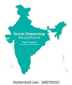 India map with Social Distancing stay at home tag