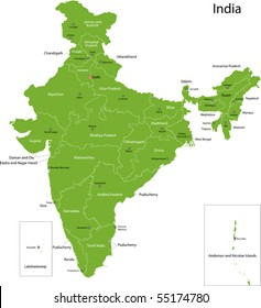 India map with states and capital cities