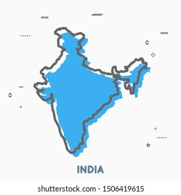 India map in thin line style with small geometric figures. Vector illustration modern concept