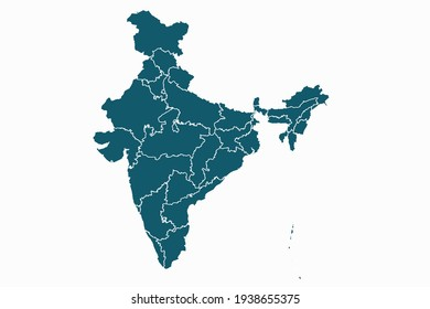 India map vector. blue color on white background.