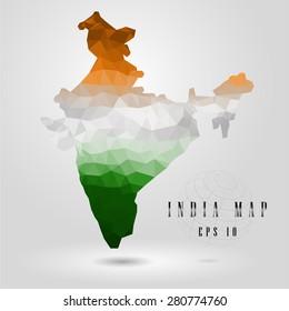 India Map vector color polygon design