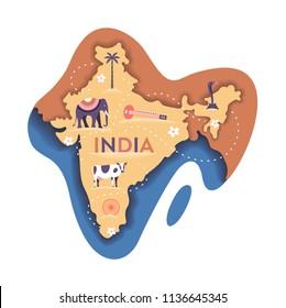 India map, vector flat illustration, white background. Elephant, cow, sitar, palm tree, cobra, lotus flower.