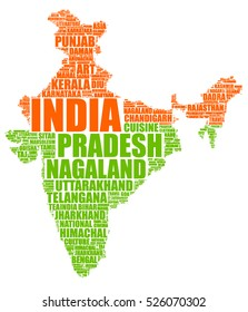 India map vector tag cloud illustration