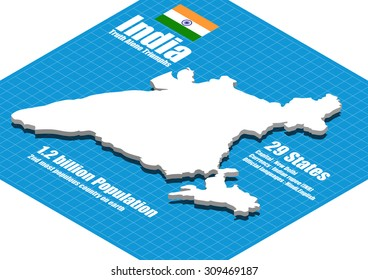 India map vector three dimensional