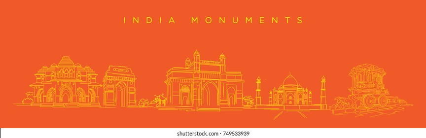 India Monuments vector illustration