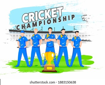 India National Cricket Team with Winning Trophy on Brush Stroke Effect Stadium Background for Championship.