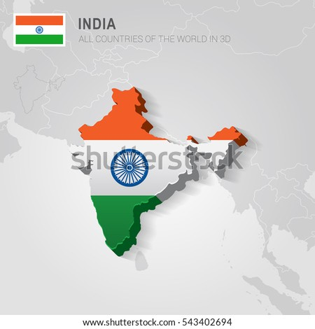 India Neighboring Countries Asia Administrative Map Stock Vector ...