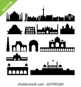 India, New Delhi landmark silhouettes vector