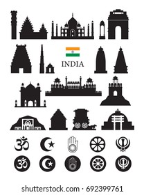 India Objects Icons Silhouette, Architecture Landmarks and Religion Symbol Set