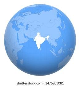 L'Inde sur la planète. La Terre était centrée sur la République de l'Inde. Carte de l'Inde. Inclut la couche avec les capitales.