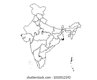 india outline map. detailed isolated vector country border contour map on white background.