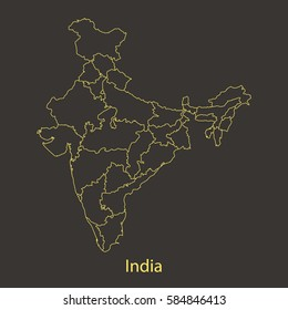 India outline,stroke of map with administrative division. Vector illustration
