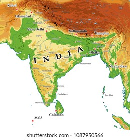 India physical map. Elements of image furnished by NASA.