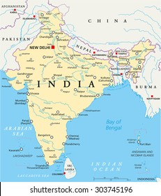 India Political Map Images Stock Photos Vectors Shutterstock