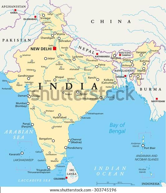 India Political Map Capital New Delhi Stock Vector (Royalty ...