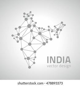 India polygonal dot grey vector map