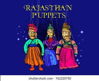 India Rajasthan puppets vector