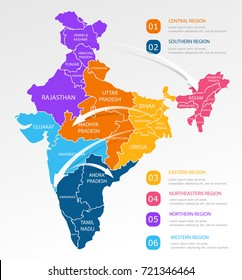 India regions business colorful map and points on white background. Infographic elements. North, west, east, central, south india. Easy to use on flyers banners or web. Vector illustration.